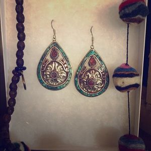 Jewelry - Turquoise and coral Tibetan earrings